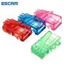 ESCAM 50Pcs Color Random RJ45 8P8C Modular Cable Head Plug Ethernet Gold Plated PC