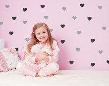 72 hearts/set Heart Wall Decal DIY Sticker  Kids Stickers 2 color Hearts Baby Room Decor Nursery Vinyls