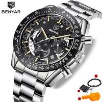 Marca de luxo benyar relógios masculinos cronógrafo cinta aço esportes do exército militar homem quartzo relógio pulso relogio masculino|Relógios de quartzo|   -