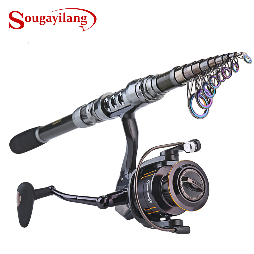 Sougayilang 1.8-3.6m Telescopic Fishing Rod და 14BB Spinning Fishing Reel Wheel პორტატული სათევზაო როდი Spinning Fishing Rod Combo