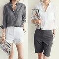 Vetement Femme Mujer Ropa Para Mujer Tops Moda 2016 Blusas Femininas Mujeres Blusas Blusa De Lino Camisa Blanca Más El Tamaño