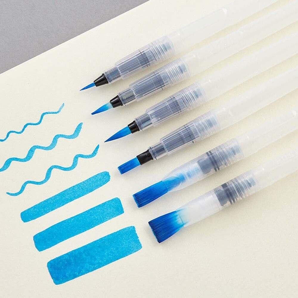 6 pièces Transparent eau Portable pinceau aquarelle pinceau crayon aquarelle pinceau stylo pour débutant peinture dessiner Art fournitures