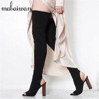 Fashion Green Over The Knee Women Stretch Long Boots Peep Toe Slingback High Heel Thigh High