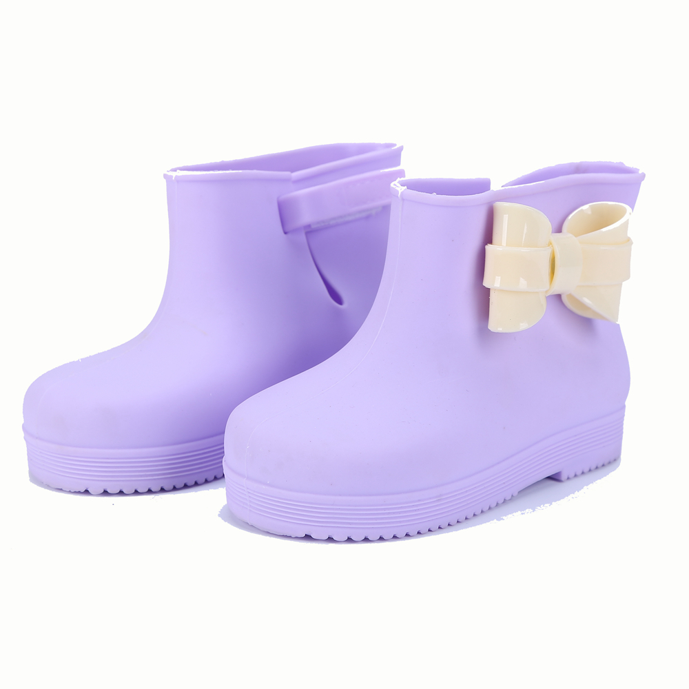 Childrens boot Memon PVC Butterfly-knot Round Toe Childrens boots Fashion PVC Square Heel Rainboots Candy flavor girls boots ...