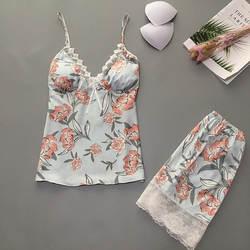Летние Пижамные комплекты для женщин с цветочным принтом, сексуальные, с v-образным вырезом, с подкладкой, нижнее белье, ночные сорочки