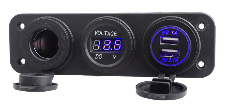 3 in 1 Dual USB LED Charger+Voltmeter+12V Socket+3 Hole Panel Marine Car Boat