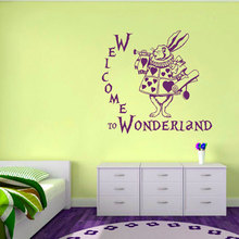 Hot Quote Welcome to Wonderland Rabbit Wall Decal Alice in Baby Nursery Kids Room Vinyl Sticker Home Mural M-68