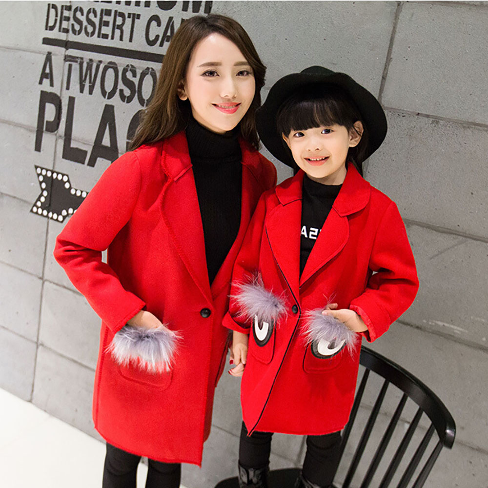 2016 Autumn Fashion Mother and daughter clother Family Look Outfit Coat Winter Korean Version Fragrant Wind Was Coat Jacket