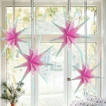 1pc 60cm Pink Star Lantern Decoration Christmas  New Year Hanging 3D Nine Angle Hi-Q Girl Home Featival Decor