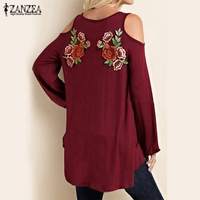 2017 Spring Women Off Shoulder Blusas Long Sleeve Elegant Lace Floral Emboridery Blouse Tops Casual Shirts