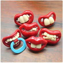 hot deal buy creative red mouth tooth beads food grade silicone baby funny pacifier newborn soothe silicone funny baby pacifier dummy nipple
