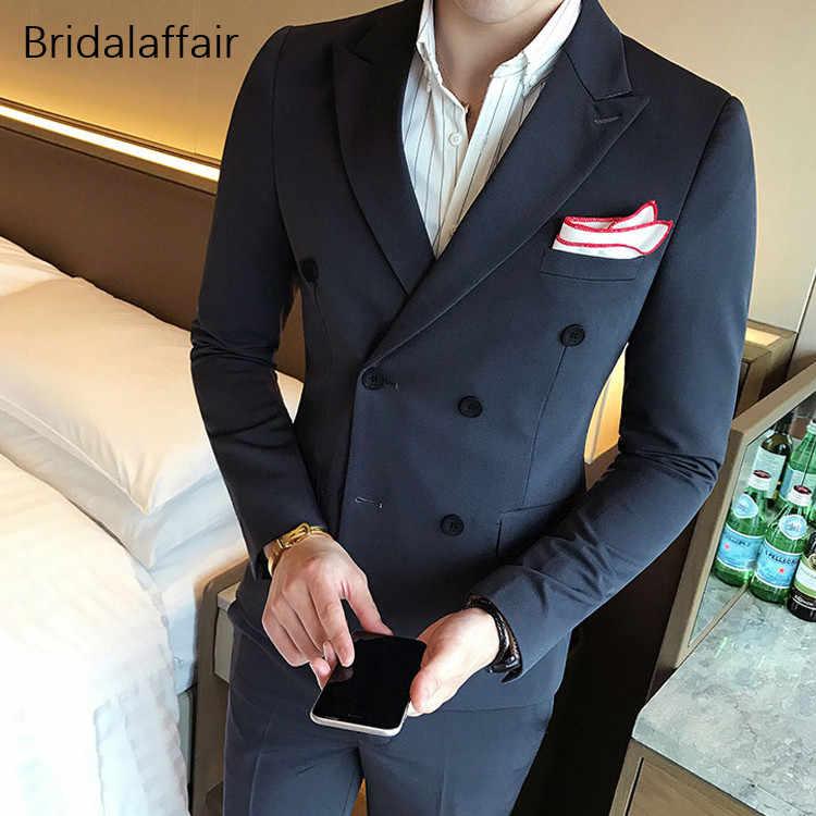 KUSON новейший дизайн пальто брюки королевский синий мужской костюм Slim Fit 3 шт смокинг жених свадебные костюмы на заказ пиджак для костюма Masculino