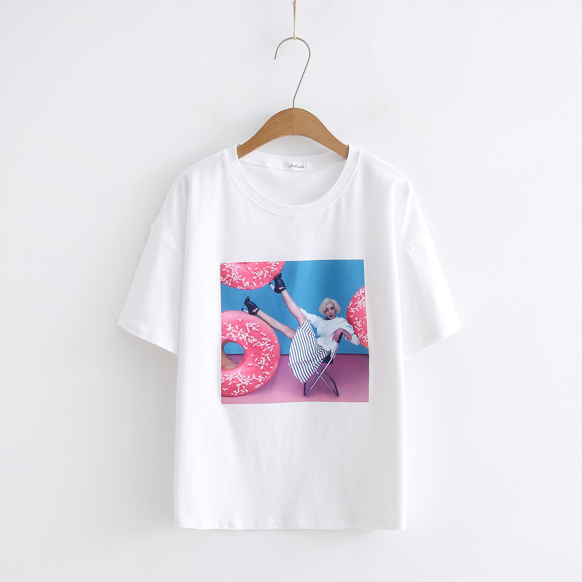 sexy shirt short sleeves students loose fitting cartoon design fresh thin t shirt sweatshirt leisure