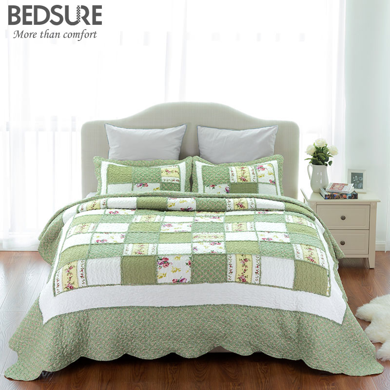 Bedsure printed quilt coverlet set bedspread green ruffle - Colchas password para hacer ...