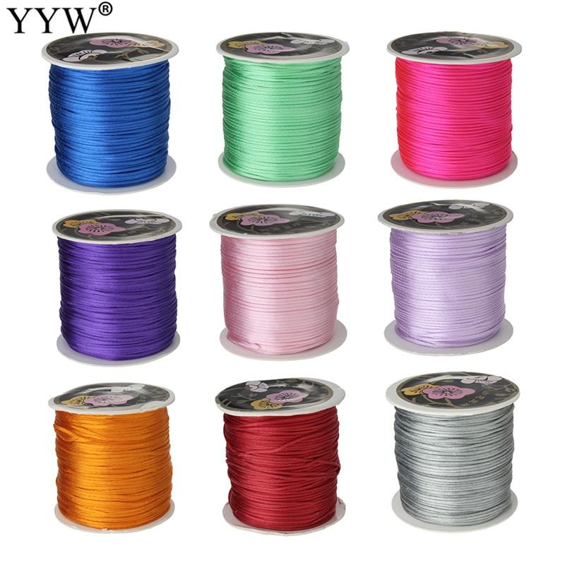 Wholesale 70M/Spool 1MM Mix Color Nylon Black Satin Chinese Knotting Silky Macrame Cord Beading Braided String Thread