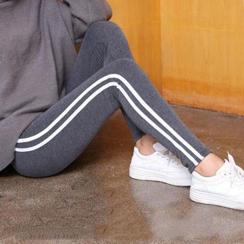 FSDKFAA 2018 Plus Size S-6XL Leggings Women Gothic Side Striped Legging Stretch High Waist Black Leggins Pants