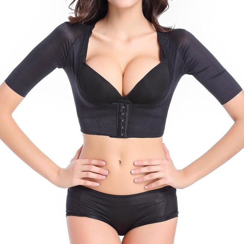 Miss Moly Women's Shapewear Tops Wear Your Own Bra Short Sleeve Slim Crop Top Shaper Body Arm Shape Underbust Black Beige S-2XL