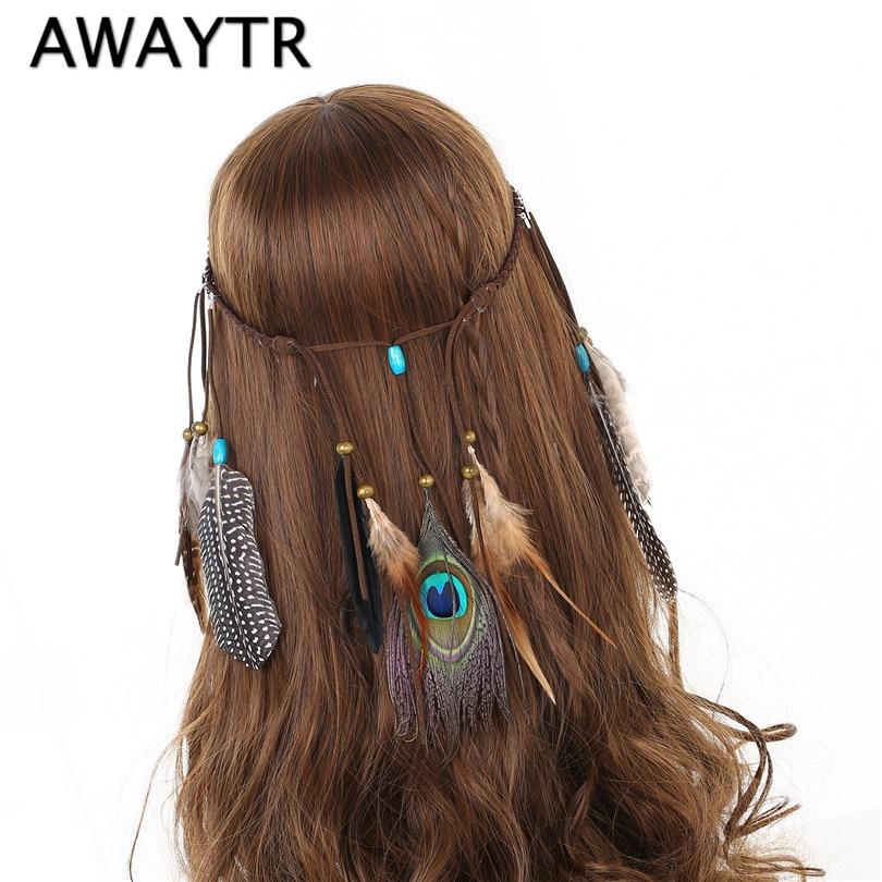 Boho Peacock Feather Women Hair Rope Hippie Headdress Hair Bands New