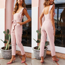 New Arrival Women Shirred Frill Sleeves Jumpsuit Waist Belted Solid Color for Summer