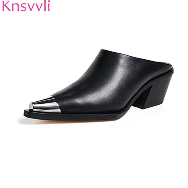 Knsvvli metal pointed women chunky heels mules shoes black white Iron toe slip on autumm sapato feminina comfort women slippers