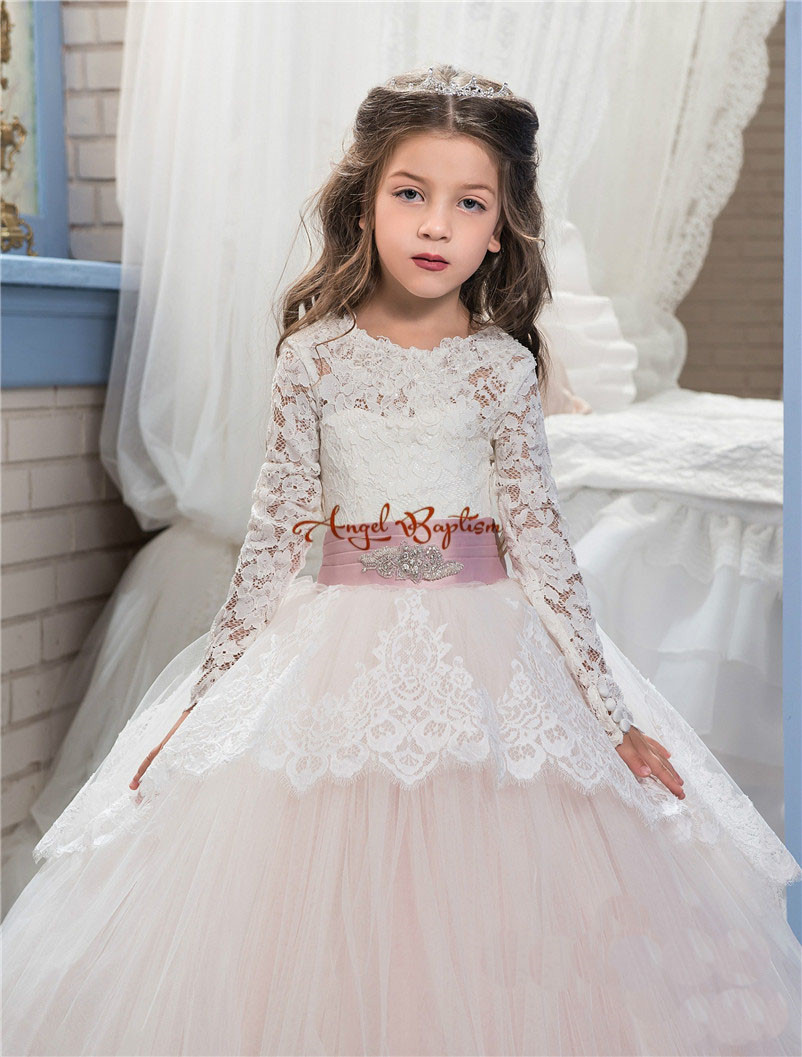 2018 Lace Flower Girl Dresses for Wedding Blush Pink Long Sleeves Ball Gown Princess First Communion Dress Child Party Wear gown pink flower girl dresses for kids lace long sleeves wedding party dress 2017 summer princess prom gown new children clothes