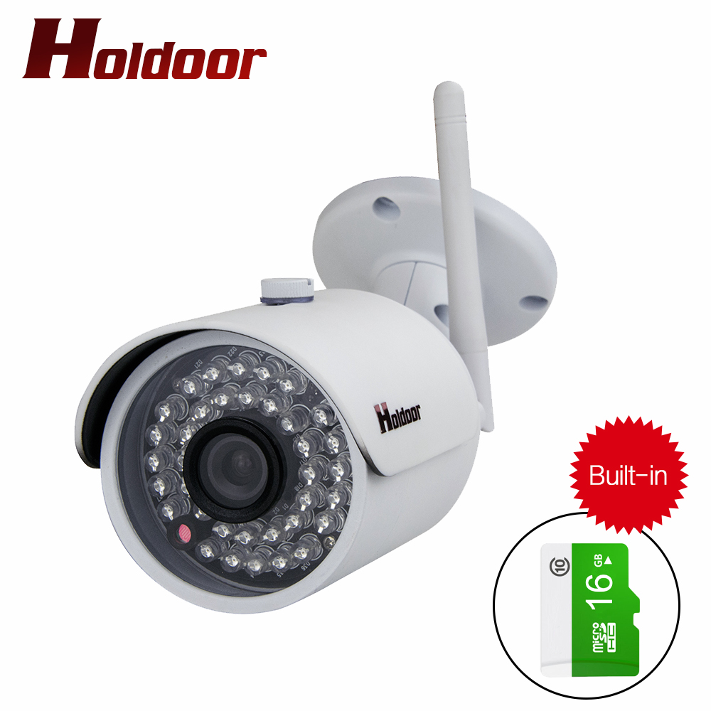 Holdoor Outdoor Waterproof Bullet IP Camera Wifi Wireless Surveillance Camera Built-in 16G Memory Card CCTV Camera Night Vision cctv camera housing aluminum alloy for bullet box camera with bracket for extreme cold or warm outdoor built in heater and fan