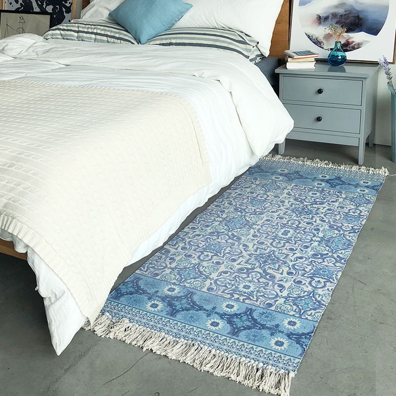 High blue and white flowers design tessel edge cotton area rug for bedside living room tapetes para casa sala tapis salon