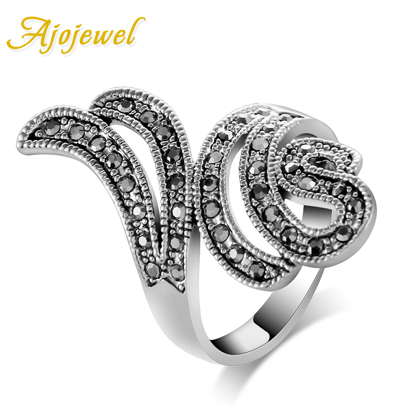 Ajojewel Brand Vintage CZ Wing Design Antique Black Ring Women Fashion Accessories