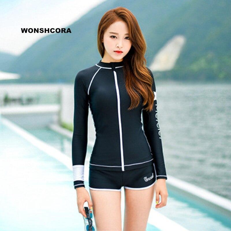 WONSHCORA Surf Wetsuit Long Sleeves Spearfishing Scuba Diving Equipment Sunscreen Korea Costumes for Women Swimwear Flat Trunks