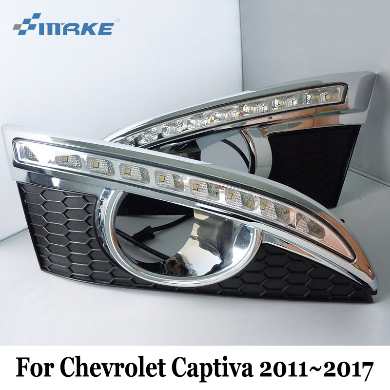 SMRKE DRL For Chevrolet Captiva / Holden Captiva 7 2011~2017 / Car LED Daytime Running Lights / 2 Color Auto Day Driving Lamp чехол на сиденье skyway chevrolet cobalt седан ch2 2