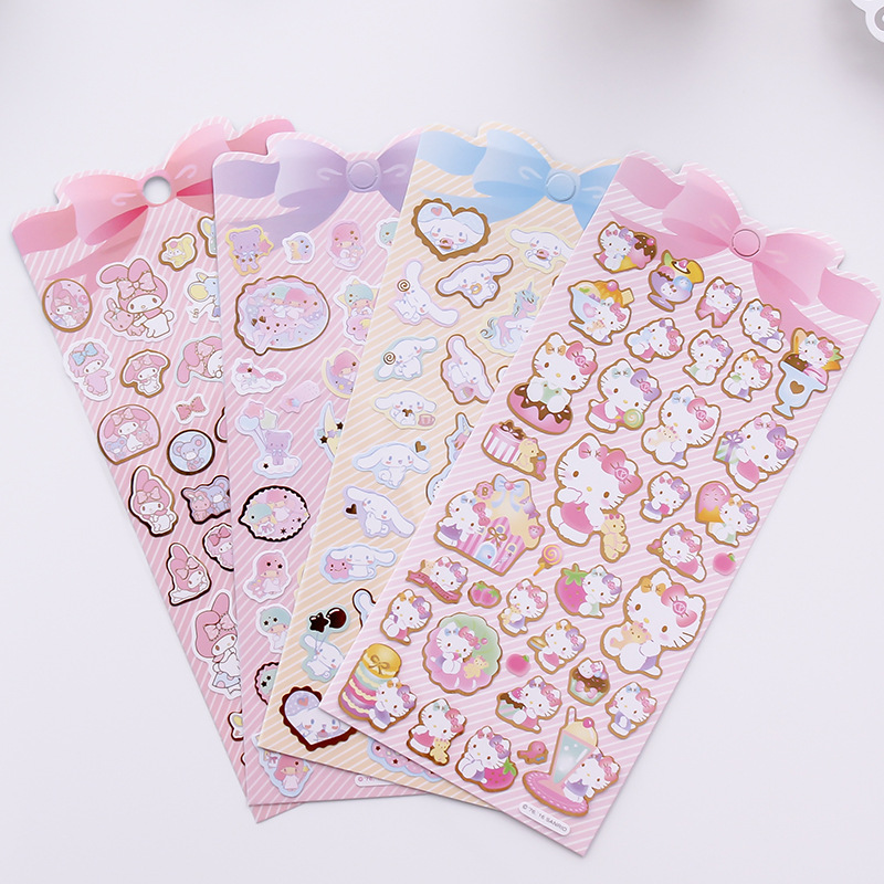 AE37 1 Sheet Kawaii Kitty Melody Twin Star Clear Bronzing DIY Decorative Stickers Sealing Paste Stick Label School Office Supply