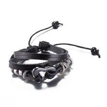 2017 Fashion Vintage Black Leather Weave Men Cuff Bracelets Heart Charm Bracelet Genuine Leather Bracelet Jewelry Gift Pulseira