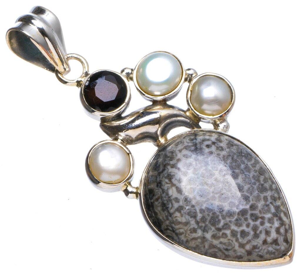 Natural Stingray Coral,River Pearl andBlack Onyx Handmade Unique 925 Sterling Silver Pendant 1.75 X0958