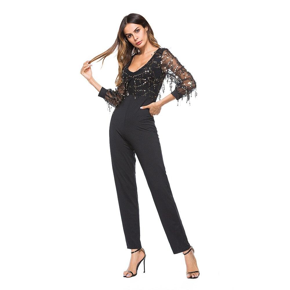 53fc2e1c10e772 US $17.32 53% OFF|rompers womens jumpsuit summer 2019 combinaison pantalon  femme elegant v neck mesh sequin one piece jumpsuit plus size A1956-in ...