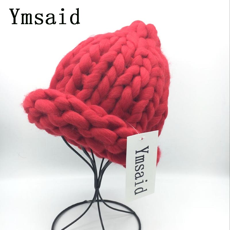 Ymsaid Women Winter Warm Hat Handmade Knitted Coarse Lines Cable Hats Knit Cap Candy Color Beanie Crochet Caps bingyuanhaoxuan2017 warm patchwork hats casual female autumn winter hats handmade coarse knitted hat for women beanies candy cap