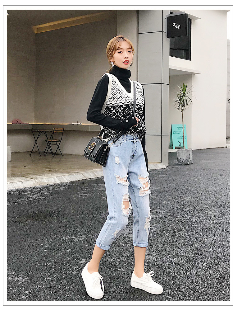 Blue Loose Vintage High Waist Ripped Jeans For Women 25