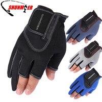 SHUNMIER рыболовные перчатки 3 полупальца прочные нескользящие дышащие ПУ и неопреновые спортивные перчатки Pesca снасти изолированные Luvas