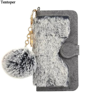 i7 7 Plus Case 2 in 1 Magnetic Detachable Wallet Rabbit Fur Case For Iphone 7 7 Plus Fuzzy Fur Ball Pouch+Card Slot Phone Cover