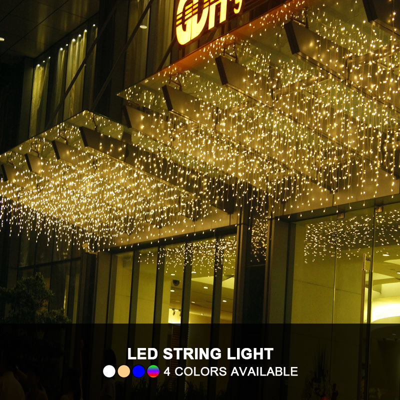 Christmas Lights Outdoor Decoration 4.5m Droop 0.4-0.6m 96 LED Icicle String Light Curtain Fairy Lamp For Xmas Party Garden