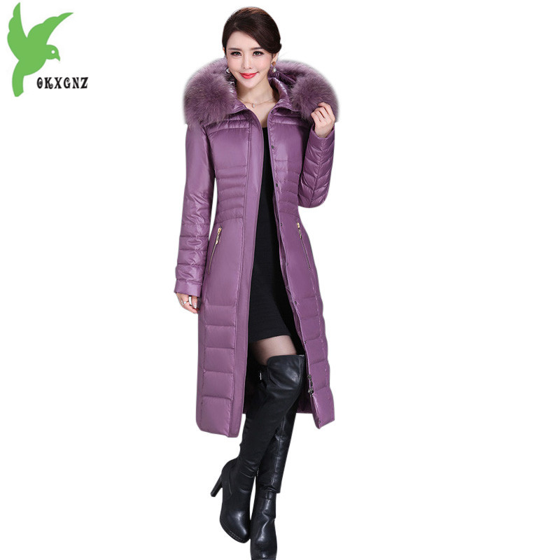 High-quality Women Winter Down cotton Jacket Coats Middle aged Female Long style Parkas Plus size Thick Warm Jacket Coats OKXGNZ 2018 high grade middle aged down fox fur collar winter jacket hooded coats large size thick warm parkas women long outerwear 6xl