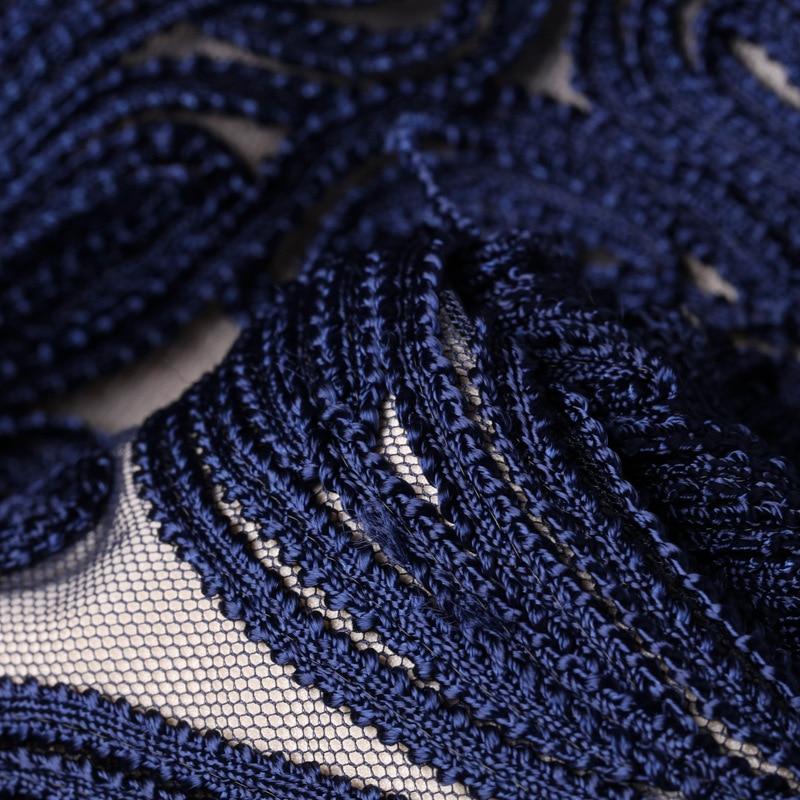 Mesh Automne Vin Vêtements 2018 Rouge Printemps Parti Mode Femmes Blue Foncé Broderie Patchwork Bleu Sheer Appliques Allover Robe red z6qwHdz