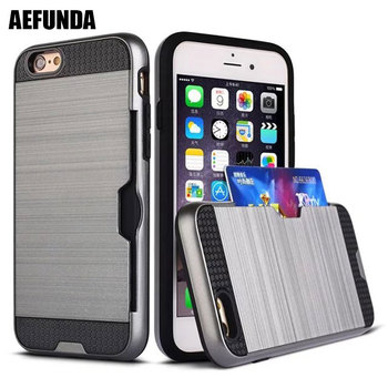 Brushed Armor Plastic Phone Case for Apple iPhone 5 5S SE 6 S 6S 7 Plus Hybrid Soft TPU Credit Card Holder Wallet Cover Case iphone 6