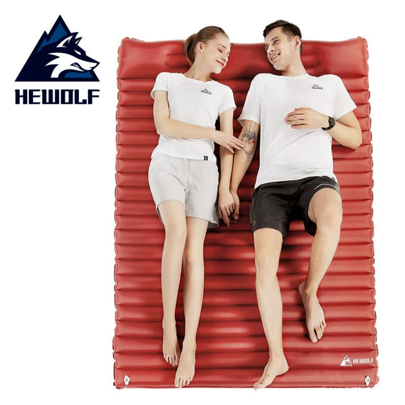 HEWOLF Press Type Outdoor Inflatable Mattress 2 Person Air Mat Cushion Moistureproof Camping Mat With Pillow Sleeping Pad Airbed