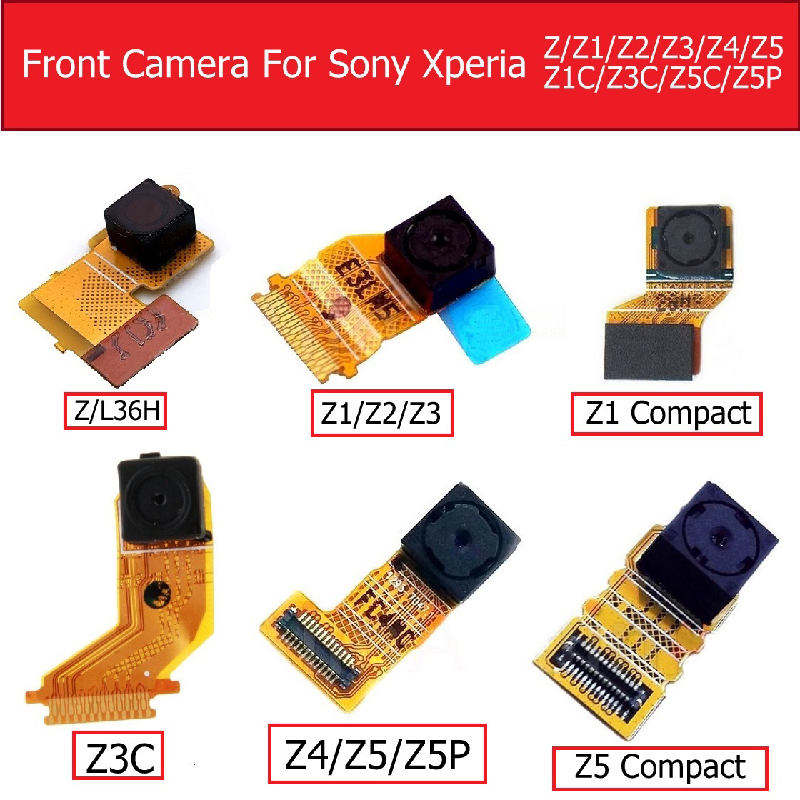 Small Front Camera Module For Sony Xperia Z L36H/Z1 L39h/Z2/Z3/Z4/Z5/Z1 Mini/Z3C/Z5C/Z5 Premium Small Facing Camera Flex Cable