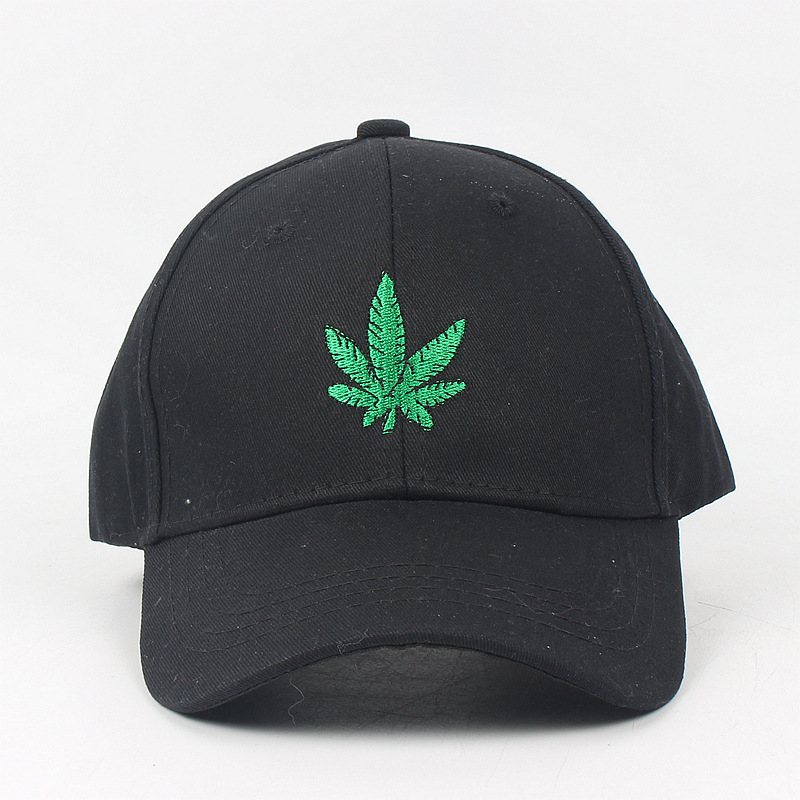 Embroidery Maple Leaf White Cap Weed Snap back Hats For Men Women Cotton Swag Hip Hop Fitted Baseball Caps