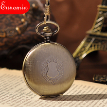 Gold Shield Men New Hand Wind Mechanical Pocket Watch Fashion Skeleton Watches Steampunk Men Pocket Watch With Chain Luxury Gift(China)