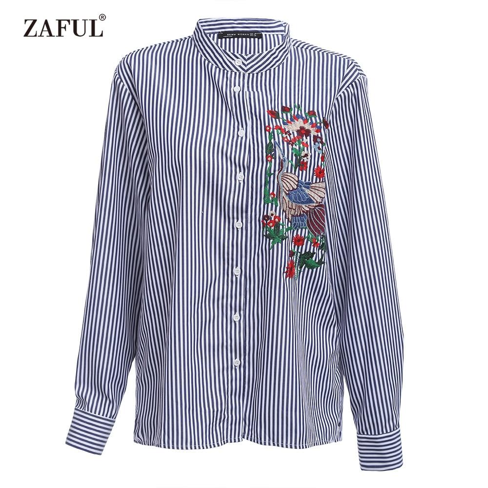 Zaful marca mujeres rayadas azules de aves bordado de la