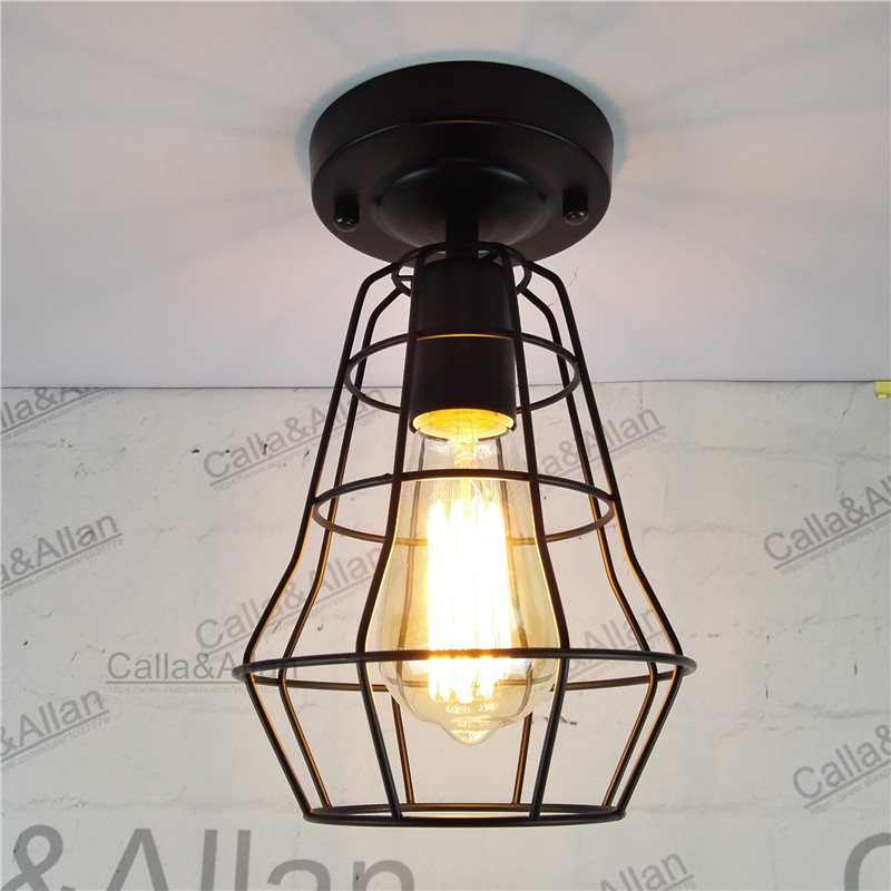 New Vintage Retro Edison ceiling Light Bulb Iron Guard Wire Cage Ceiling Hanging Light Fitting Bar Cafe cage DIY Lamp fixture loft retro ceiling lamp iron small ceiling light edison bulb light fixture for cafe bar art deco lighting contain edison bulb