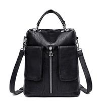 Casual Women Double Pocket Backpack Female High Quality Leather Bagpack Designer Zipper School Shoulder Bag