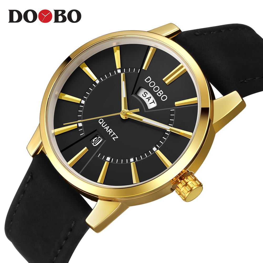 DOOBO New Gold Quartz Watches Men Fashion Casual Top Brand Luxury Wrist Watches Clock Male Army Sport Clock relogio saat xinge top brand luxury leather strap military watches male sport clock business 2017 quartz men fashion wrist watches xg1080